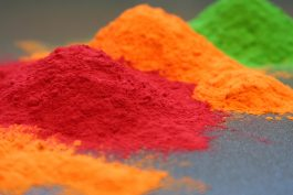 Photo of three colors of powder coating